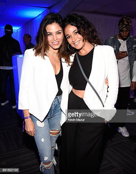Actresses Jenna DewanTatum and Emmanuelle Chriqui pose backstage during 'The Formation World Tour' at the Rose Bowl on May 14 2016 in Pasadena...