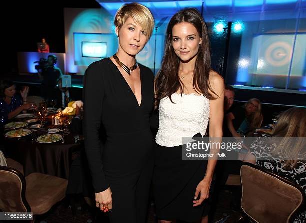Actresses Jenna Elfman and Katie Holmes during the 2011 Women In Film Crystal Lucy Awards with presenting sponsor PANDORA jewelry at the Beverly...