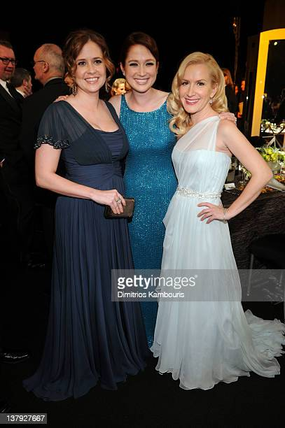 Actresses Jenna Fischer, Ellie Kemper and Angela Kinsey attend The 18th Annual Screen Actors Guild Awards broadcast on TNT/TBS at The Shrine...