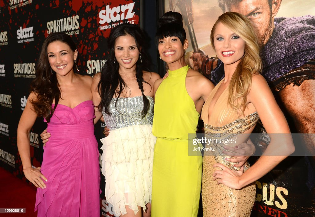 Actresses Jenna Lind, Katrina Law, Cynthia Addai-Robinson, and Ellen Hollman attend the 'Spartacus: War Of The Damned' premiere at Regal Cinemas L.A. LIVE Stadium 14 on January 22, 2013 in Los Angeles, California.