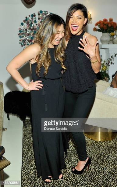 Actresses Jenna Ushkowitz and Jessica Szohr attend LoveGold Cocktail Party honoring Academy Award Nominee Lupita Nyong'o at Chateau Marmont on...