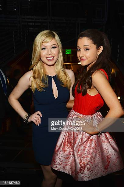 Actresses Jennette McCurdy and Ariana Grande seen backstage at Nickelodeon's 26th Annual Kids' Choice Awards at USC Galen Center on March 23 2013 in...