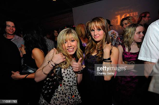 Actresses Jennette McCurdy and Debby Ryan celebrate at Miranda Cosgrove's Sweet 16 Party at Siren on May 16, 2009 in Los Angeles, California.
