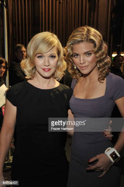 Actresses Jennie Garth and AnnaLynne McCord pose backstage during the 35th Annual People's Choice Awards held at the Shrine Auditorium on January 7...