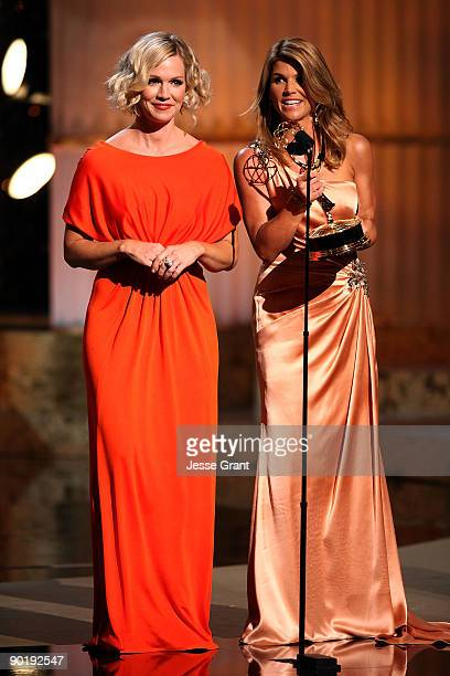 Actresses Jennie Garth and Lori Loughlin onstage at the 36th Annual Daytime Emmy Awards at The Orpheum Theatre on August 30 2009 in Los Angeles...