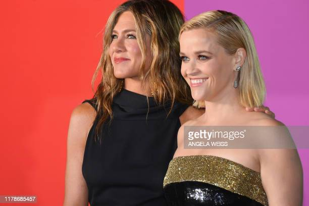 US actresses Jennifer Aniston and Reese Witherspoon arrive for Apples The Morning Show global premiere at Lincoln Center David Geffen Hall on October...