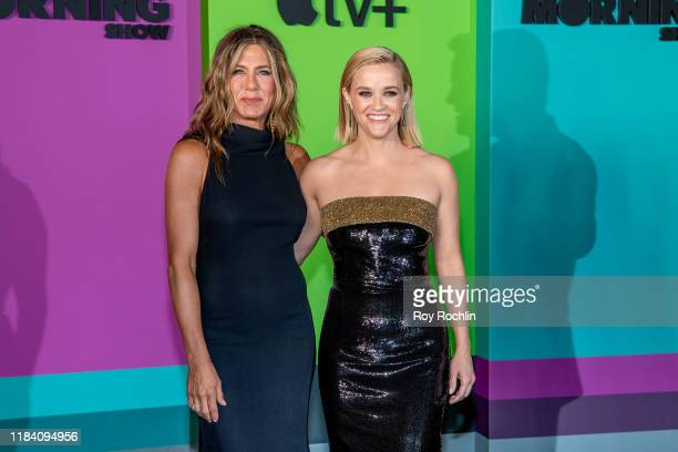 Actresses Jennifer Aniston and Reese Witherspoon attend Apple TV's The Morning Show world premiere at David Geffen Hall on October 28 2019 in New...