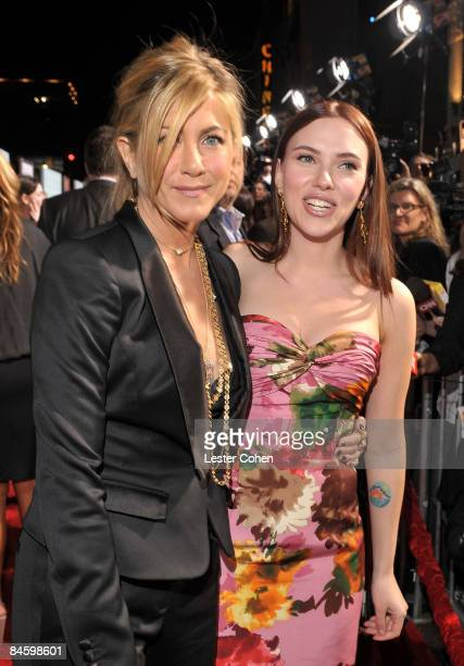 Actresses Jennifer Aniston and Scarlett Johansson arrive on the red carpet at the Warner Bros Los Angeles Premiere of He's Just Not That Into You...