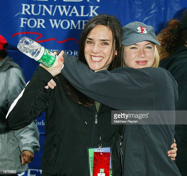 Actresses Jennifer Connelly and Renee Zellweger attend the EIF's Sixth Annual Revlon Walk/Run for Women in Times Square April 29 2003 in New York City
