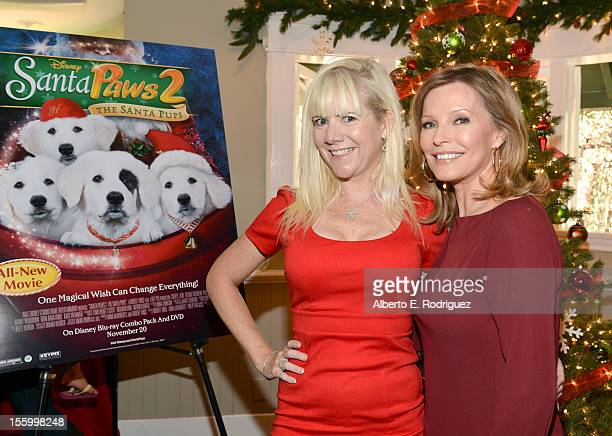 Actresses Jennifer Elise Cox and Cheryl Ladd attend the 'Santa Paws 2 The Santa Pups' holiday party hosted by Disney Cheryl Ladd and Ali Landry at...