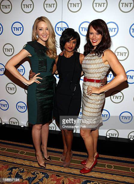 Actresses Jennifer Finnigan Sarayu Blue and Emily Swallow of Monday Mornings attend Turner Broadcasting's 2013 TCA Winter Tour at Langham Hotel on...
