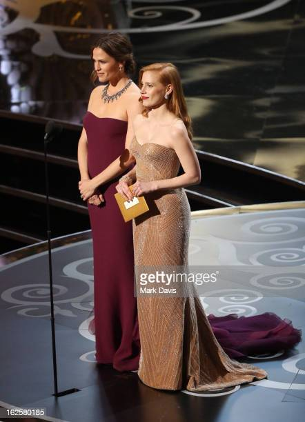 Actresses Jennifer Garner and Jessica Chastain speak onstage during the Oscars held at the Dolby Theatre on February 24, 2013 in Hollywood,...