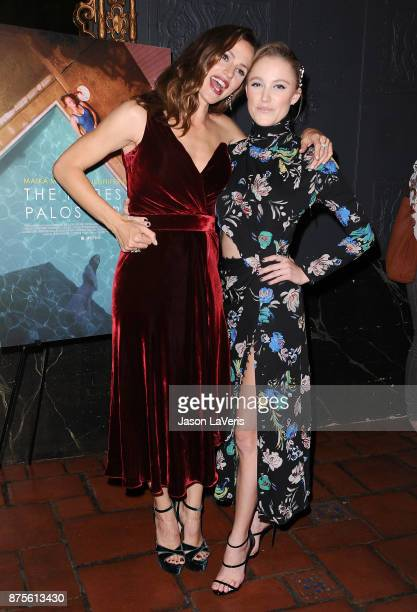 Actresses Jennifer Garner and Maika Monroe attend the premiere of 'The Tribes of Palos Verdes' at The Theatre at Ace Hotel on November 17 2017 in Los...
