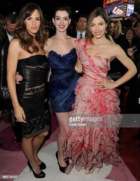 Actresses Jennifer Garner Anne Hathaway and Jessica Biel arrive at the premiere of New Line Cinema's 'Valentine's Day' held at Grauman's Chinese...