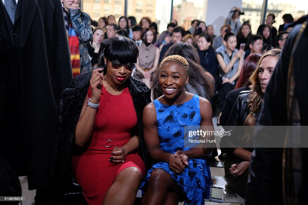 Actresses Jennifer Hudson and Cynthia Erivo attend the Michael Kors Fall 2016 Runway Show during New York Fashion Week: The Shows at Spring Studios on February 17, 2016 in New York City.