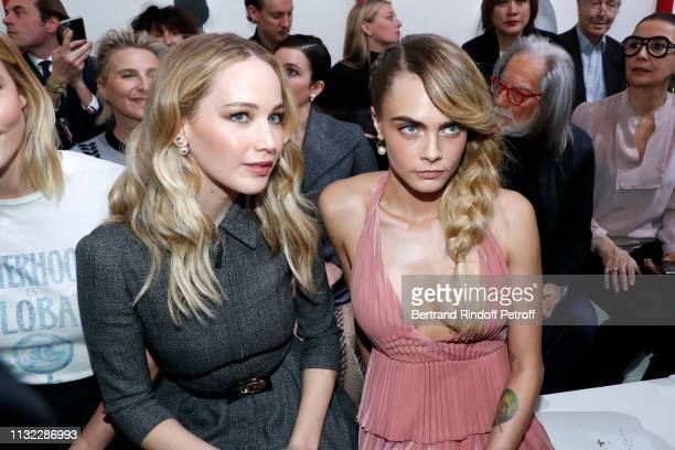 Actresses Jennifer Lawrence and Cara Delevingne attend the Christian Dior show as part of the Paris Fashion Week Womenswear Fall/Winter 2019/2020 on...