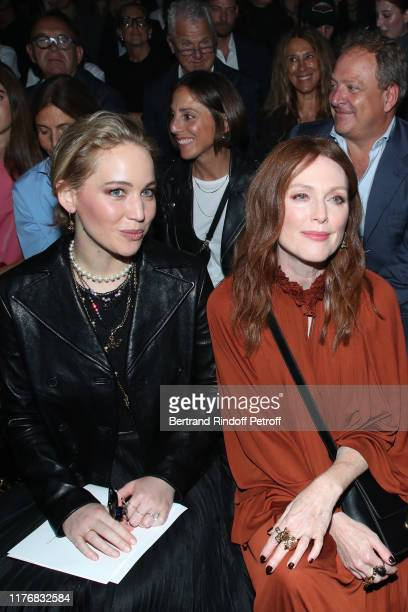 Actresses Jennifer Lawrence and Julianne Moore attend the Christian Dior Womenswear Spring/Summer 2020 show as part of Paris Fashion Week on...