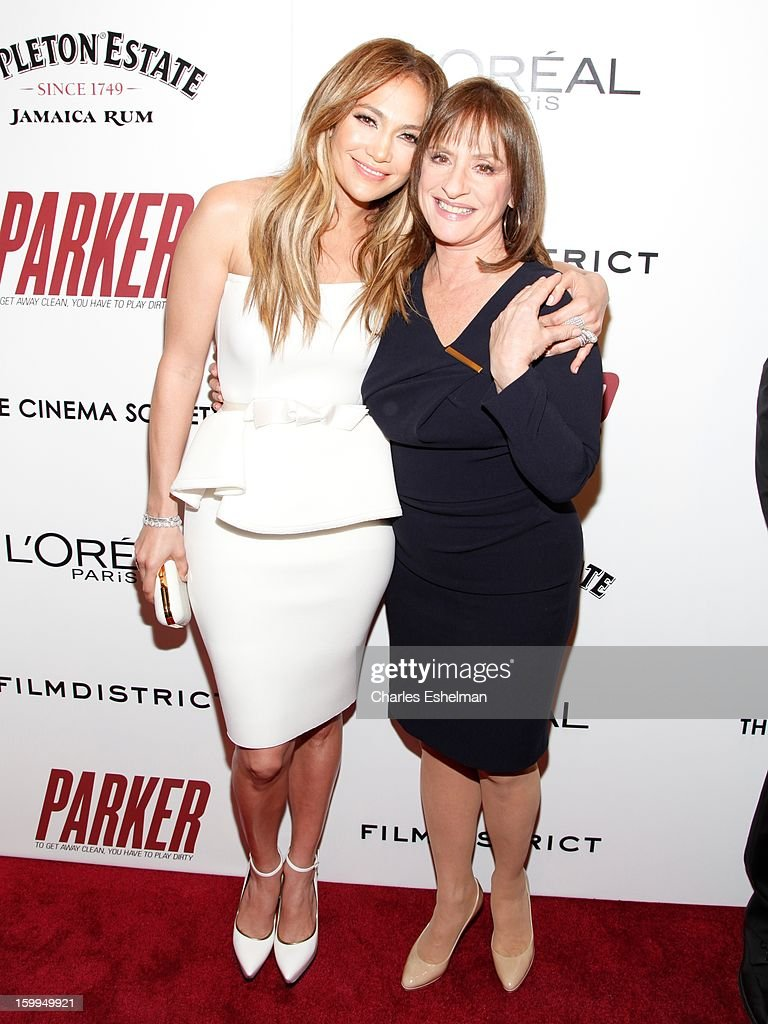 Actresses Jennifer Lopez and Patti LuPone attend the FilmDistrict with The Cinema Society, L'Oreal Paris & Appleton Estate screening of 'Parker' at The Museum of Modern Art on January 23, 2013 in New York City.