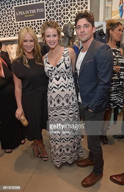 Actresses Jennifer Love Hewitt and Lindsey Godfrey and actor Robert Adamson attends the launch of Jennifer Love Hewitt's new maternity line, 'L By...