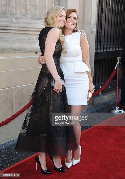 """Actresses Jennifer Morrison and JoAnna Garcia Swisher attend ABC's """"Once Upon A Time"""" Season 4 red carpet premiere at the El Capitan Theatre on..."""