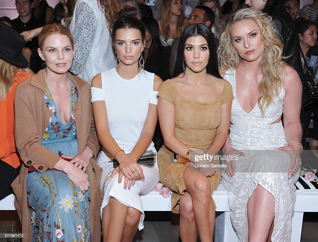 Actresses Jennifer Morrison, Emily Ratajkowski, TV personality Kourtney Kardashian and professional skiier Lindsey Vonn attend the alice + olivia by Stacey Bendet Los Angeles Runway Show at NeueHouse Los Angeles on April 13, 2016 in Hollywood, California.