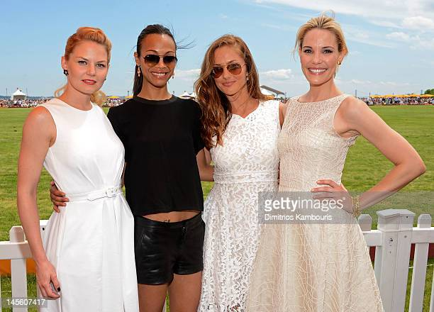 Actresses Jennifer Morrison, Zoe Saldana, Minka Kelly and Leslie Bibb pose at the VIP Marquee during the fifth Annual Veuve Clicquot Polo Classic on...