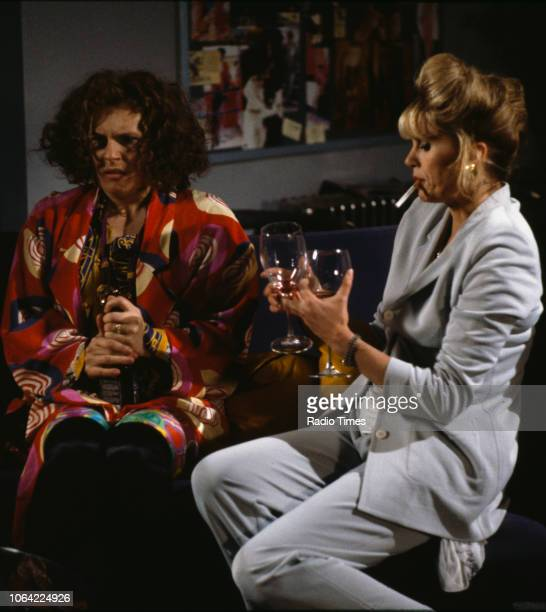Actresses Jennifer Saunders and Joanna Lumley in a scene from episode 'Fashion' of the television sitcom 'Absolutely Fabulous', June 28th 1991.
