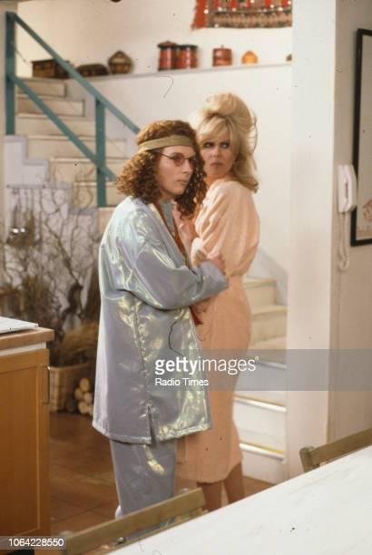 Actresses Jennifer Saunders and Joanna Lumley in a scene from episode 'Magazine' of the BBC television sitcom 'Absolutely Fabulous', March 18th 1992.