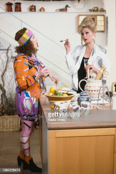 Actresses Jennifer Saunders and Joanna Lumley in a scene from the BBC television sitcom 'Absolutely Fabulous', March 4th 1992.