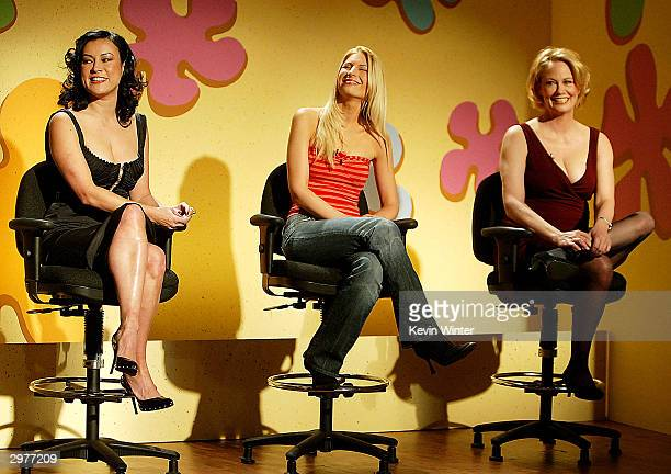 Actresses Jennifer Tilly Kim Serafin and Cybill Shepherd play The Dating Game skit on The Tonight Show with Jay Leno at the NBC Studios February 12...