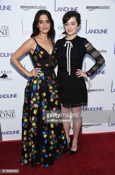 Actresses Jenny Slate and Abby Quinn arrive at the premiere of Amazon Studios' 'Landline' at the ArcLight Hollywood on July 12 2017 in Hollywood...