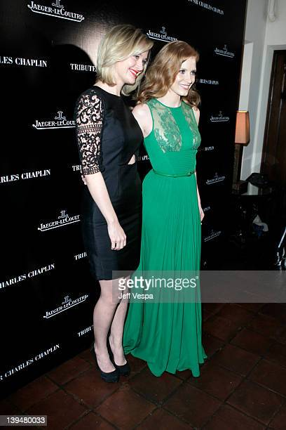 Actresses Jess Weixler and Jessica Chastain arrive at a tribute to Sir Charles Chaplin by Carmen and Dolores Chaplin with the support of...