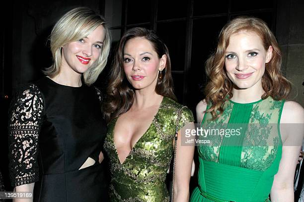 Actresses Jess Weixler Rose McGowan and Jessica Chastain attend a tribute to Sir Charles Chaplin by Carmen and Dolores Chaplin with the support of...