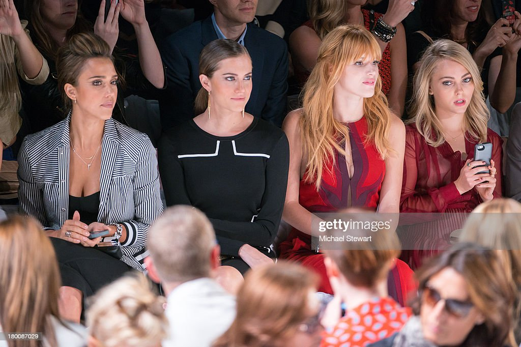 Actresses Jessica Alba, Allison Williams, Bella Thorne and Annasophia Robb attend the Diane Von Furstenberg show during Spring 2014 Mercedes-Benz Fashion Week at The Theatre at Lincoln Center on September 8, 2013 in New York City.