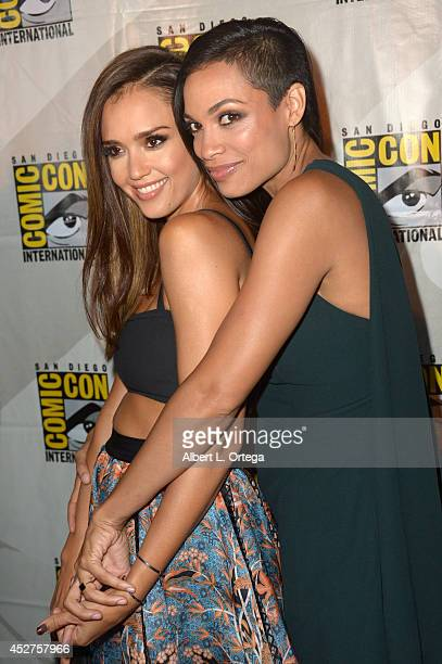 Actresses Jessica Alba and Rosario Dawson attend Frank Miller's Sin City A Dame To Kill For panel during ComicCon International 2014 at San Diego...