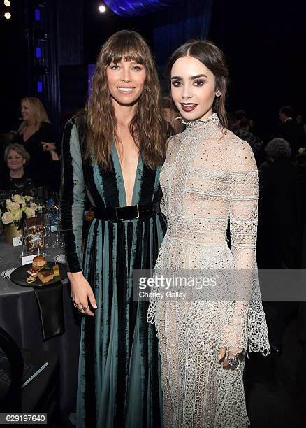 Actresses Jessica Biel and Lily Collins at the 22nd Annual Critics' Choice Awards presented by FIJI Water at Barker Hangar on December 11 2016 in...