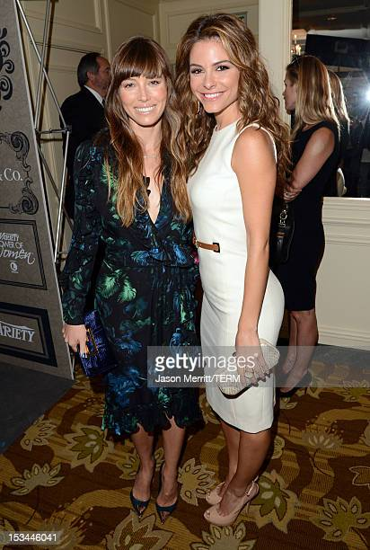 Actresses Jessica Biel and Maria Menounos arrive at Variety's 4th Annual Power of Women Event Presented by Lifetimeat the Beverly Wilshire Four...
