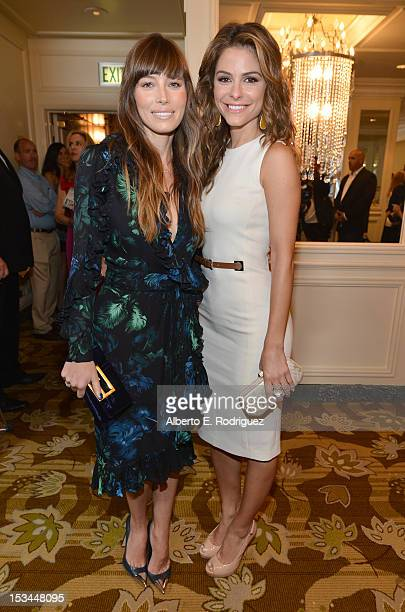 Actresses Jessica Biel and Maria Menounos arrive at Variety's 4th Annual Power of Women Event Presented by Lifetime at the Beverly Wilshire Four...