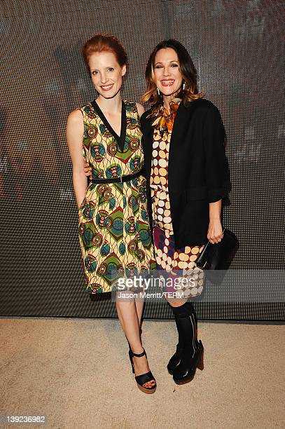 Actresses Jessica Chastain and Drew Barrymore attend the Marni at H&M Collection Launch at Lloyd Wright's Sowden House on February 17, 2012 in Los...