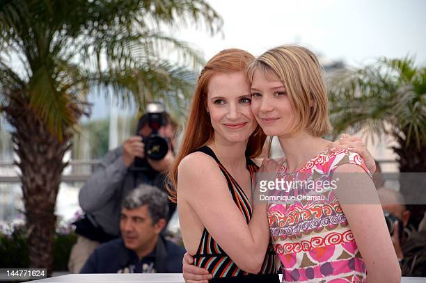 Actresses Jessica Chastain and Mia Wasikowska attend the Lawless Photocall during the 65th Annual Cannes Film Festival at Palais des Festivals on May...
