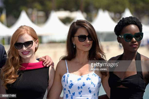 Actresses Jessica Chastain Penelope Cruz and Lupita Nyong'o attend the photocall for '355' during the 71st annual Cannes Film Festival at Majestic...