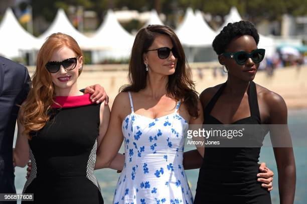 Actresses Jessica Chastain Penelope Cruz and Lupita Nyong'o attend the photocall for 355 during the 71st annual Cannes Film Festival at Majestic...