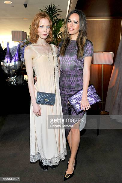 Actresses Jessica Joffe and Louise Roe attend Champagne Taittinger celebrate Men In Hollywood at Sunset Tower Hotel on January 17 2014 in West...