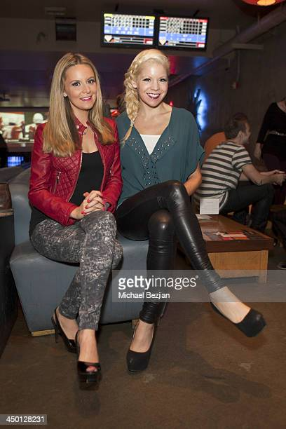 Actresses Jessica Kinni and Anne McDaniels attend Unlikely Heroes Bowling Party at Lucky Strike Bowling Alley on November 16 2013 in Hollywood...
