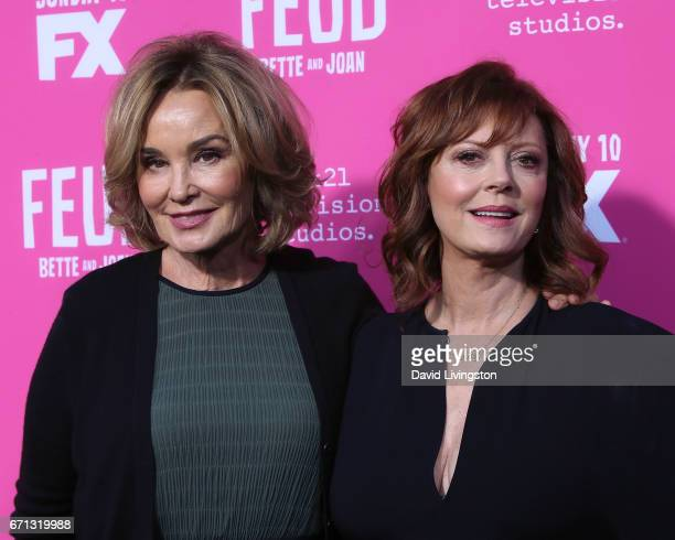 Actresses Jessica Lange and Susan Sarandon attend FX's 'Feud Bette and Joan' FYC event at The Wilshire Ebell Theatre on April 21 2017 in Los Angeles...