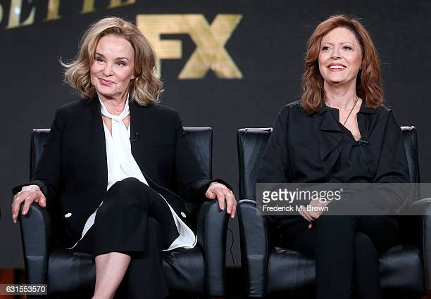 Actresses Jessica Lange and Susan Sarandon of the television show 'Feud' speak onstage during the FX portion of the 2017 Winter Television Critics...