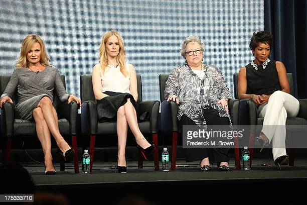Actresses Jessica Lange Sarah Paulson Kathy Bates and Angela Bassett speak onstage during the 'American Horror Story Coven' panel discussion at the...