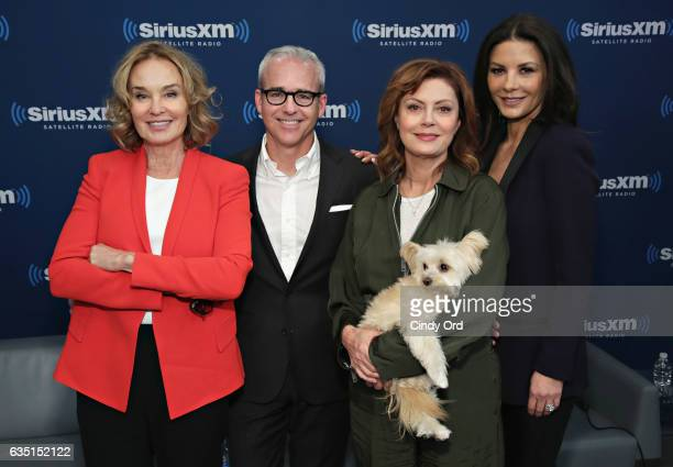 Actresses Jessica Lange Susan Sarandon and Catherine ZetaJones pose for a photo with host Jess Cagle during SiriusXM's 'Town Hall' with the cast of...