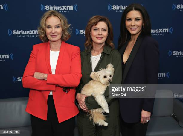 Actresses Jessica Lange Susan Sarandon and Catherine ZetaJones pose for a photo during SiriusXM's 'Town Hall' with the cast of 'Feud' Town Hall to...