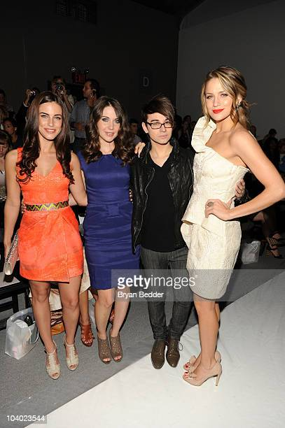 Actresses Jessica Lowndes Alison Brie designer Christian Siriano and actress Shantel VanSanten attend the Lela Rose Spring 2011 fashion show during...